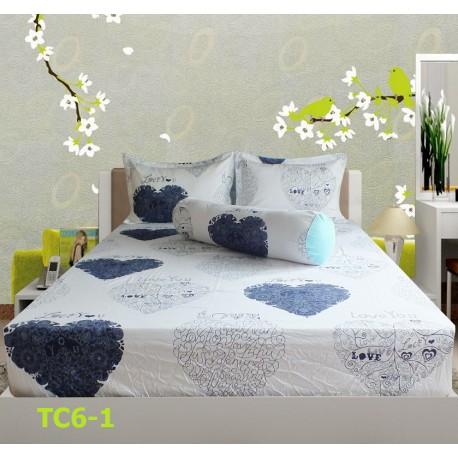 Bộ Drap Cotton in Họa Tiết Trái Tim Hometex TC6-1 - 1.6x2m