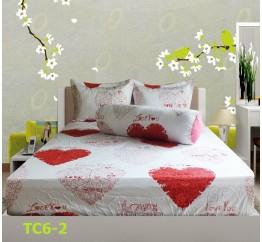 Bộ Drap Cotton in Họa Tiết Trái Tim Hometex TC6-2 - 1.6x2m