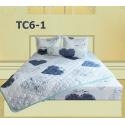 Bộ Chăn Drap Gối Cotton in Họa Tiết Khối Hometex TC5-1 1.6x2m