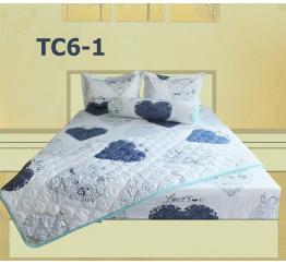 Bộ Chăn Drap Gối Cotton in Họa Tiết Trái Tim Hometex TC6-2 - 1.8x2m