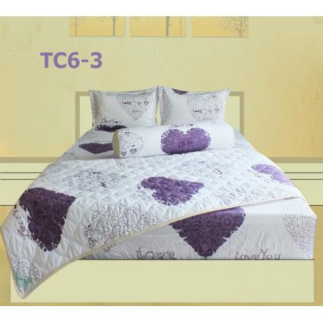 Bộ Chăn Drap Gối Cotton in Họa Tiết Trái Tim Hometex TC6-3 - 1.6x2m