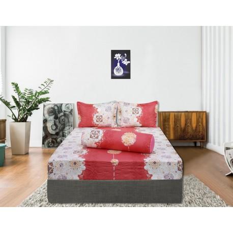 Bộ drap bọc cotton Hometex màu hồng 1.6 x 2m