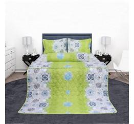 Bộ chăn drap gối cotton Hometex màu xanh cốm 1.6 x 2m