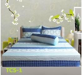 Bộ Drap Cotton in Họa Tiết Khối Hometex TC5-1 - 1.6x2m