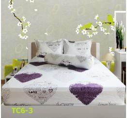 Bộ Drap Cotton in Họa Tiết Trái Tim Hometex TC6-3 - 1.6x2m