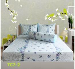 Bộ Drap Cotton in Họa Tiết Hoa Hometex TC7-2 - 1.6x2m