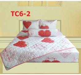 Bộ Chăn Drap Gối Cotton in Họa Tiết Trái Tim Hometex TC6-2 - 1.6x2m