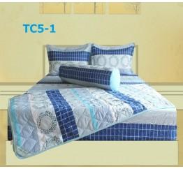 Bộ Chăn Drap Gối Cotton in Họa Tiết Khối Hometex TC5-1 1.8x2m