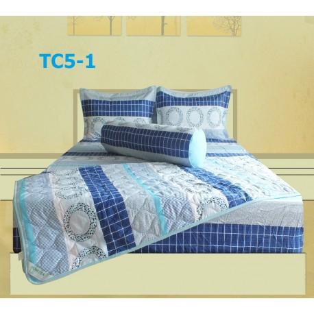 Bộ Chăn Drap Gối Cotton in Họa Tiết Khối Hometex TC5-1 _1.8x2m
