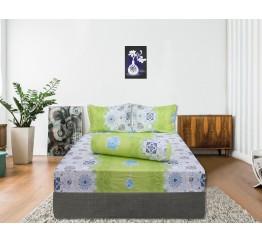 Bộ drap bọc cotton Hometex xanh cốm 1.6 x 2m