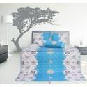 Bộ chăn drap gối cotton Hometex màu xanh dương 1.6 x 2m