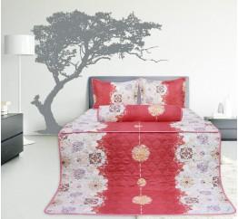 Bộ chăn drap gối cotton Hometex màu hồng 1.6 x 2m