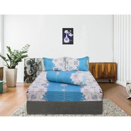 Bộ drap bọc cotton Hometex xanh dương 1.6 x 2m